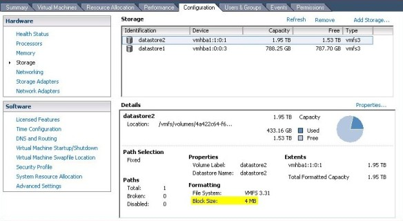 Highlighted you will see the datastore block size.